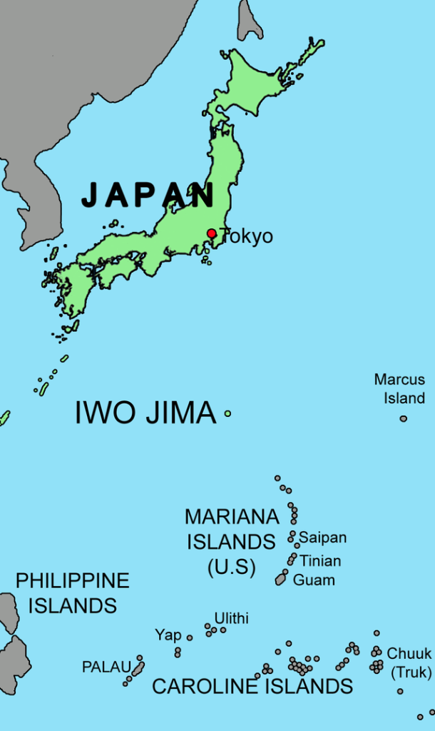Iwo Jima island map