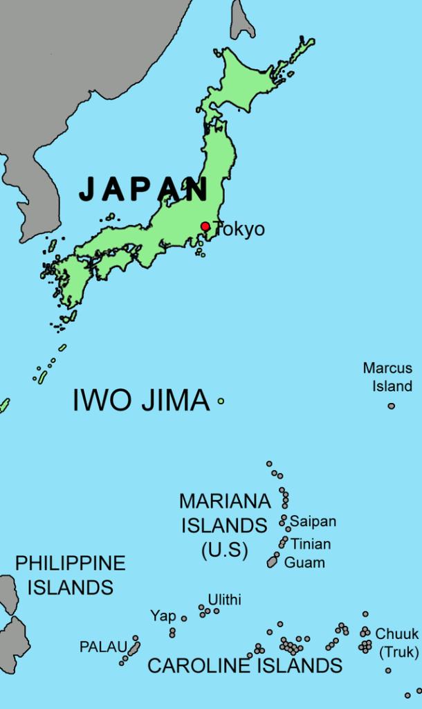Iwo Jima island map