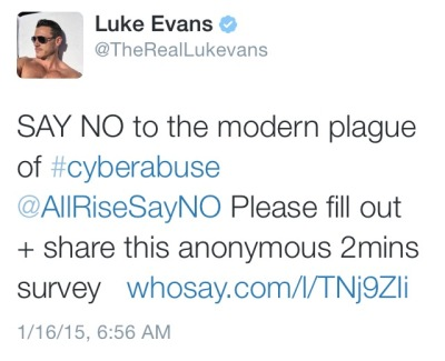 Luke Evans saying NO to cyberabuse